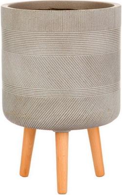 Горшок Идеалист Lite Страйп файберстоун серо-коричневый Д24 В40 см 11 л WSTRIP24-T