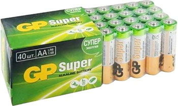 Алкалиновые элементы питания GP АА Super Alkaline 40 шт. 15A-2CRVS40 240/720 батарейка gp алкалиновые типоразмера аа 4 шт