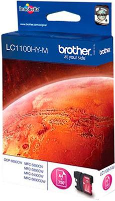 цена Картридж Brother LC 1100 HYM пурпурный онлайн в 2017 году