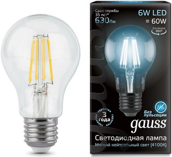 Лампа GAUSS LED Filament A60 E27 6W 630lm 4100К 102802206 Упаковка 10шт