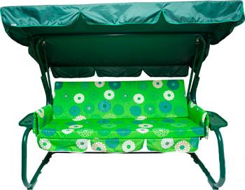 Качели садовые Мебельторг ''Грация''  D142 (карк. зеленый/ тк зеленожелтая клетка)