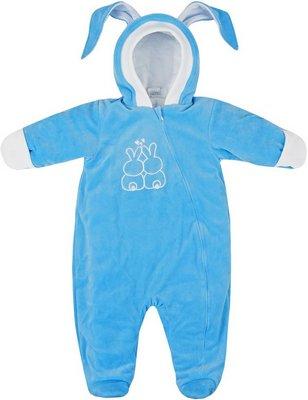 Комбинезон Picollino велюровый Кролик утепленный СК3-КМ002 (в) ярко голубой 62-40(20) комбинезон утепленный для новорожденного soni kids мишка джентельмен цвет белый голубой з8102006 размер 62