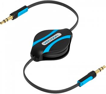 Кабель-рулетка Vention аудио Jack 3 5 mm M/Jack 3 5 mm M 1м Черный кабель соединительный 1 5м vention 3 5 jack m 3 5 jack m угловой коннектор p360ac b150 t