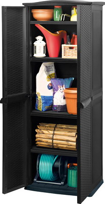 Высокий пластиковый шкаф Keter RATTAN STYLE Tall Utility Shed 17190092