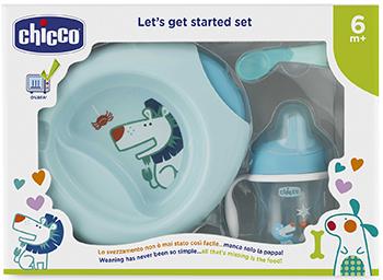 Набор детской посуды Chicco (3 предмета) 6 мес. голубой 00016200200000 игровой подарочный набор chicco baby senses 4 предмета
