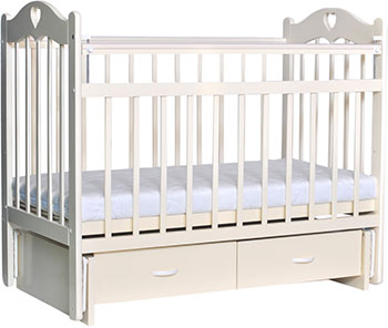 Детская кроватка Everflo Love c ящиком и маятником ivory ES-002 ПП100004297