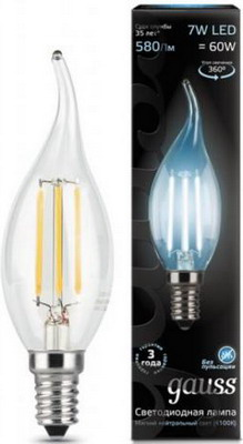 Лампа GAUSS LED Filament Свеча на ветру E14 7W 580lm 4100К 104801207 Упаковка 10шт лампа gauss led elementary свеча на ветру 8w e14 540lm 4100k 34128 упаковка 10шт