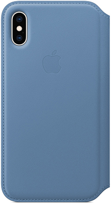 Чехол (флип-кейс) Apple Leather Folio для iPhone XS цвет (Cornflower) синие сумерки MVFD2ZM/A чехол книжка apple leather folio для iphone xs чёрный mrww2zm a