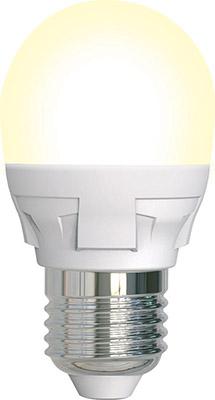 Лампа светодиодная Uniel LED-G45-7W/3000K/E27/FR/DIM PLP01WH диммируемая Форма «шар» матовая (3000K) 004303