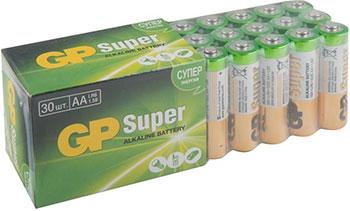 Щелочные батареи GP Super Alkaline АА (LR6) 30шт/уп. 15A-2CRVS30 180/720 недорого