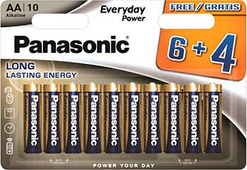 Батарейки Panasonic щелочные AA Everyday Power promo pack в блистере 10 шт. (LR6REE/10B4F) батарейки щелочные panasonic aa pro power в блистере 10 шт 6 и 4 lr6xeg 10b4fpr