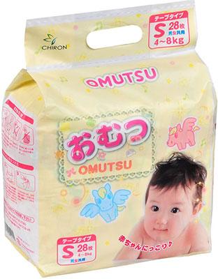 Подгузники Omutsu S (4-8 кг) 28 шт. merries подгузники для детей размер s 4 8 кг 24 шт