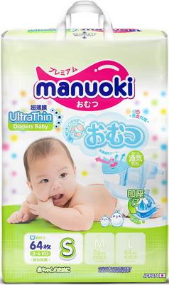 цена на Подгузники Manuoki Ultrathin S 3-6 кг 64 шт JPM 005
