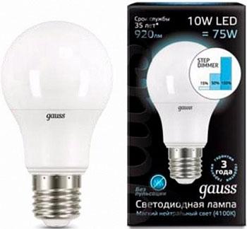 цена Лампа GAUSS LED 10 W E 27 4100 K с функцией ступенчатого диммирования 102502210-S онлайн в 2017 году