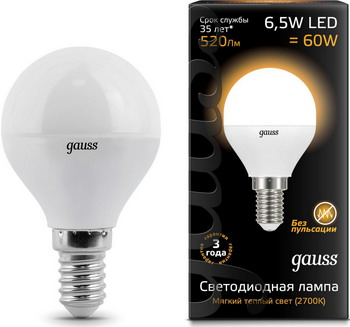 Лампа GAUSS LED Шар E14 6.5W 520lm 3000K 105101107 Упаковка 10шт лампа gauss led шар e27 6 5w 520lm 3000k 105102107 упаковка 10шт