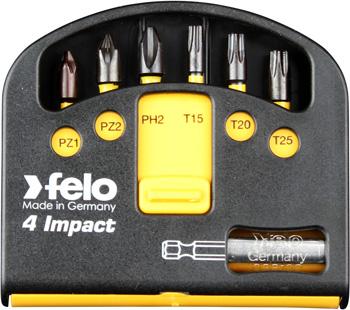 Набор ударных бит Felo 6 шт серия Impact с держателем бит 02060146 набор бит felo 35 шт в кейсе серия industrial 02073516