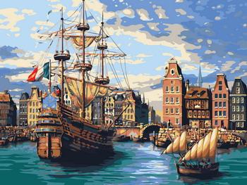 Фото - Картина по номерам Рыжий кот 30х40 см СУДНА В СТАРОМ ПОРТУ Х-6520 рыжий кот картина по номерам маяк на море 30х40 см х 0412