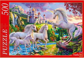 Настольная игра пазл Рыжий кот 500 элементов. ЕДИНОРОГИ И ВОЛШЕБНЫЙ ЗАМОК Ф500-2178