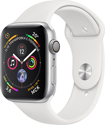 Часы Apple Watch Series 4 GPS 40 mm Silver Aluminium Case with White Sport Band (MU 642 RU/A)