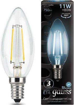 Лампа GAUSS Filament Свеча E 14 11 W 4100 K 103801211 лампа gauss filament свеча на ветру e 14 5w 4100 k golden 104801805