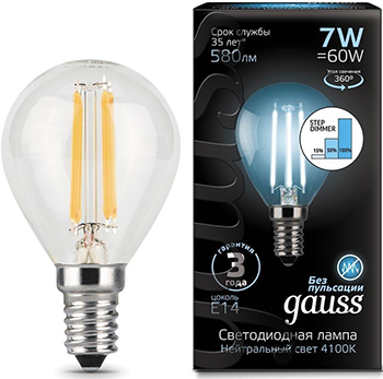 gauss лампа светодиодная gauss led filament candle e14 7w 2700к 1 10 50 103801107 Лампа GAUSS LED Filament Шар E14 7W 580lm 4100K step dimmable 1/10/50 105801207-S