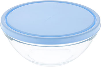 Салатник с крышкой Pasabahce ШЕФ 230 мм (голубая крышка)