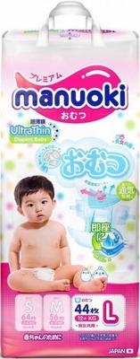 Подгузники Manuoki Ultrathin L 12 кг 44 шт JPM 007