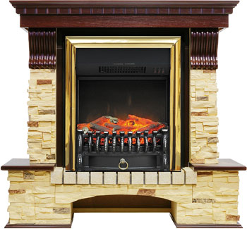 Каминокомплект Royal Flame Pierre Luxe сланец с очагом Fobos FX BR (темный дуб) 10966664910202 цена 2017