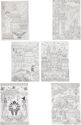 Набор для раскрашивания Bondibon Набор раскрасок антистресс Достопримечательности мира 6 листов 30х21 см ВВ1714