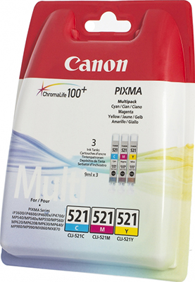Набор картриджей Canon CLI-521 C/M/Y 2934 B 010 Многоцветный