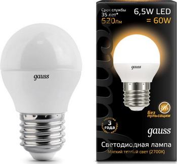 Лампа GAUSS LED Шар E27 6.5W 520lm 3000K 105102107 Упаковка 10шт лампа gauss led шар e27 6 5w 520lm 3000k 105102107 упаковка 10шт