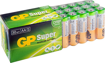 Батарейка GP Super Alkaline 15A LR6 AA (30шт) aa батарейка gp super alkaline 15a lr6 10 шт