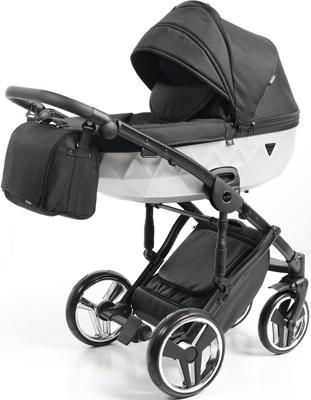 коляски 2 в 1 Коляска детская 2 в 1 Junama MIRROR SATIN JDMS-01 (черный/короб матовое серебро)