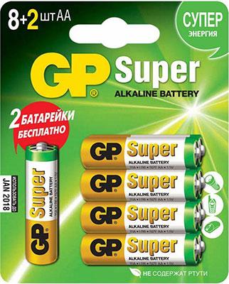 Фото - Алкалиновые батарейки GP АA (LR6) 10 шт. Super Alkaline 15A8/2-CR10 120/960 алкалиновые батарейки gp ultra alkaline 13а типоразмера d блистер 2 шт