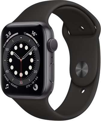 Умные часы Apple Watch Series 6 40mm Space Gray Aluminium Case with Black Sport Band (MG133RU/A) умные часы apple watch series 6 40mm space gray aluminium case with anthracite black nike sport band m00x3ru a
