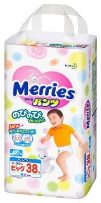 Трусики-подгузники Merries BIG 12-22кг 38шт merries подгузники для детей размер м 6 11кг 64шт