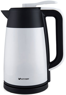 Чайник электрический Kitfort КТ-620-1 белый соковыжималка kitfort кт 1102 1 шнековая оранжевый
