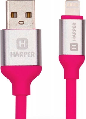 Кабель Harper Lightning SCH-530 pink red line zync alloy black кабель usb lightning 1 м