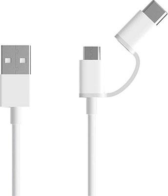 Фото - Кабель Zmi 2 in 1 USB Type-C/Micro 30 см 2.1A белый кабель xiaomi zmi al511 2 in 1 usb type c micro 30cm white