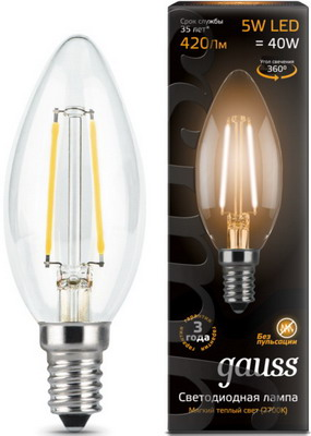 Лампа GAUSS Filament Свеча E 14 5W 2700 K 103801105 лампа gauss led candle e 14 6 5w 2700 k 103101107