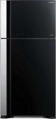 Двухкамерный холодильник Hitachi R-VG 662 PU7 GBK чёрное стекло цена и фото