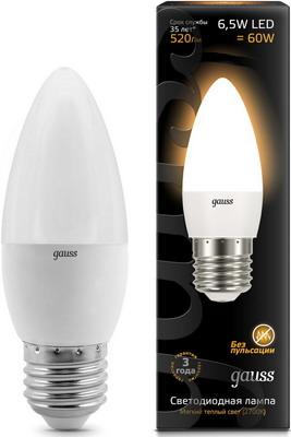 Лампа GAUSS LED Свеча E27 6.5W 520lm 2700К 103102107 Упаковка 10шт лампа gauss led шар e27 6 5w 520lm 3000k 105102107 упаковка 10шт