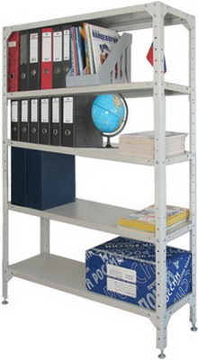 Стеллаж металлический Универсал (в1800*ш1000*г300мм) 5 полок в комплекте регулир. опоры 290145