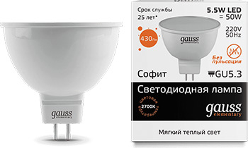 Лампа GAUSS LED Elementary MR16 GU5.3 5.5W 430lm 3000К 13516  упаковка 10шт