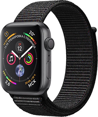 Часы Apple Watch Series 4 GPS 40 mm Space Grey Aluminium Case with Black Sport Loop (MU 672 RU/A) все цены