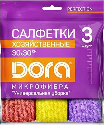 Для ручной очистки поверхностей Dora Набор салфеток из микрофибры ''Универсальная'' 3