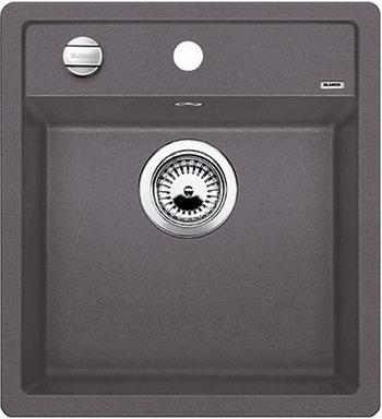 Кухонная мойка BLANCO DALAGO 45-F SILGRANIT темная скала с клапаном-автоматом мойка blanco dalago 45 silgranit puradur 518846 тёмная скала размер шхд 46 5см х 51см