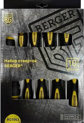 Набор отверток BERGER BG 1063 набор ключей шестигранных berger bg 10sнw 10 предметов