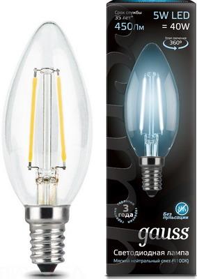 Лампа GAUSS Filament Свеча E 14 5W 4100 K 103801205 лампа gauss filament свеча на ветру e 14 5w 4100 k golden 104801805