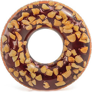 Надувной круг Intex Пончик шоколад 114 см 56262 круг для плавания детский intex ocean reef 61см 59242